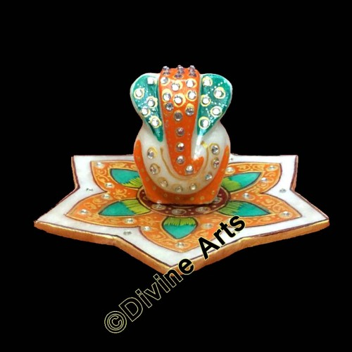 Marble Lord Ganesha With Marble Leaf