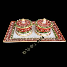 Marble Dry Fruit Box With Tray